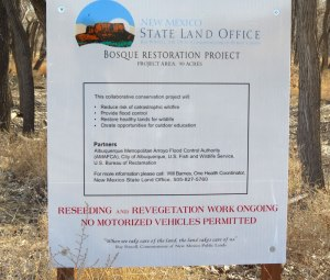 State Land Office Restoration Project Sign